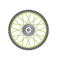 black metallic bicycle wheel with green spokes vector image vector image