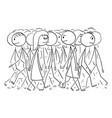 cartoon crowd or group people walking on vector image
