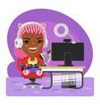 cartoon gamer girl streamer vector image vector image