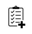 checklist with medicine plus isolated icon vector image vector image