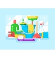 Cleaning tools and detergent vector image