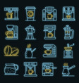 coffee maker icons set neon vector image vector image