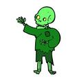 comic cartoon skeleton waving vector image vector image