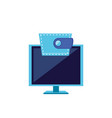 computer monitor with wallet icon vector image vector image