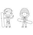 cute cheerful kids with boards for snowboard vector image