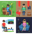 different concept pictures of funny people in vector image