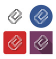 dotted icon paper clip in four variants with vector image