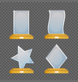 empty glass trophy awards set glossy vector image