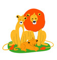 family lions - flat design style vector image
