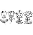 floral set in doodle style design elements with vector image vector image