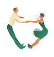 funny couple wearing vintage clothes dancing vector image vector image