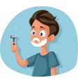 funny teenage boy shaving holding razor vector image vector image