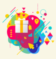 Gift box on abstract colorful spotted background vector image