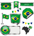 Glossy icons with Brazilian flag vector image vector image