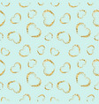gold heart seamless pattern blue color golden vector image