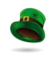 green leprechaun hat with clover leaf vector image vector image