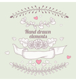 hand drawn collection of floral design elements vector image vector image