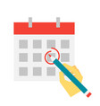 hand make mark on calendar with pencil vector image