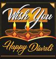 happy diwali wish card banner with diya vector image