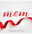 happy moyhers day red ribbon card design vector image