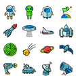 icons set with space tehlology UFO and alien vector image