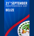 independence day of belize flag and patriotic vector image