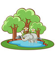 isolated picture elephant in pond vector image vector image