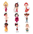 kids in national costumes of different countries vector image vector image