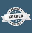 kosher ribbon kosher round white sign kosher vector image vector image