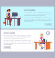 office work page pretty women workplace typing vector image vector image