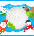 photoframe mockup with christmas characters vector image