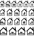 Pictograms of families in houses vector image vector image
