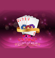 poker casino gambling set with chips and royal flu vector image vector image