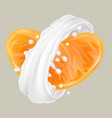 realistic milk splash with mandarin vector image