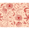 Red Pomegranate Pattern vector image vector image