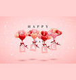 sale happy valentines day background red pink and vector image