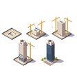 skyscrapers construction isometric composition vector image vector image