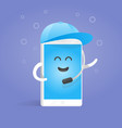 smartphone concept manager accepts calls in cap vector image vector image