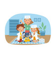 three young kids playing fancy dress vector image