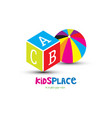toys for kids place logo vector image vector image