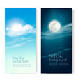 two contrasting sky banners - day and night vector image vector image