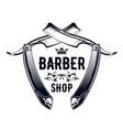 vintage barbershop emblem - old straight razor vector image