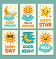 weather cards with funny cartoon vector image vector image