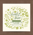 wedding card with cute green floral background vector image