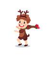 cute little boy in the costume of reindeer kid in vector image