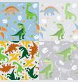 dinosaur seamless pattern set vector image