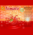 a splash of juice of a tomato vegetable vector image vector image