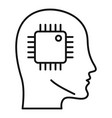 ai smart processor head icon outline style vector image vector image