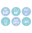 baby shower sticker set round blue tags vector image vector image