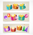Banners with gift boxes and balloons